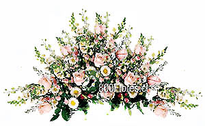 Ovalo Fúnebre mixto con rosas pastel y complementos